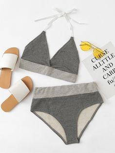 Lingerie & Sleepwear by BORNTOWEAR. Contrast Trim Marled Lingerie Set