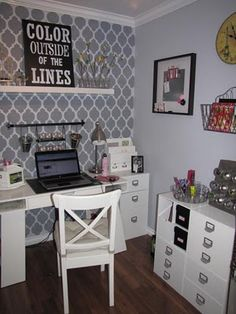 Craftaholics Anonymous®   Crafty Space: Jenn from Clean and Scentsible's Craft Room. Once again, I am drawn to that gray wall. I could easily do something like that on my gray wall. And the cubes - I have cubes! Maybe instead of spreading them out in my room, I  need to block them together.