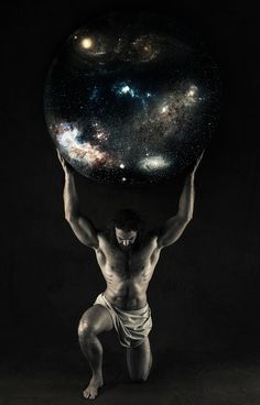 Greek titan Atlas holding the Universe
