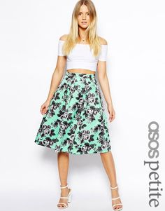 Asos PETITE Midi Quilted Print Skirt on shopstyle.com