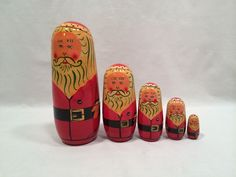 Nesting Wooden Dolls Santa Claus 5 pieces #Unbranded