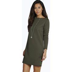 Boohoo Blue Gabriella Long Sleeve Oversized Shift Dress ($26) ❤ liked on Polyvore featuring dresses, khaki, khaki dress, holiday dresses, cami dress, body con dress and long sleeve shift dress