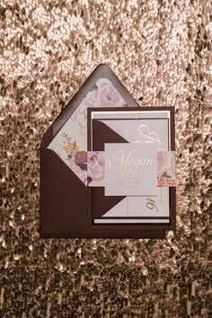 Foil  Fancy Burgundy and Rose Gold Floral Wedding by JustInviteMe