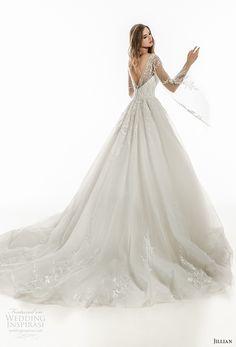 jillian 2018 bridal long sleeves sweetheart neckline heavily embellished bodice romantic fairytale a  line wedding dress open v back royal train (22) bv -- Jillian 2018 Wedding Dresses