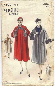 1951 Vogue 7499 Reversible Coat Pattern Size Medium by BettysBuys, $50.00