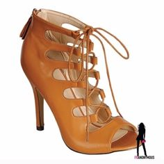 """Hot  Camel Lace up Open Toe Booties 9 Wow! Perfect Fall, Spring transition shoe and so fabulous! Vegan camel leather and zip up back for easy on and off. Laces for adjusting width and fit. They are hot! 4.5"""" heel. Extra heel taps. New in box. Size 9. Eye Candie Shoes Ankle Boots & Booties"""