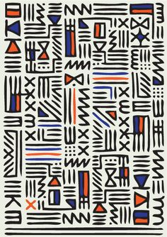 Pattern Knit    by QUE DESIGN STORE, hieroglyphic pattern, geometric, orange blue & black, fabric design