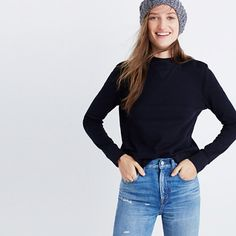 """Inspired by the Japanese concept of """"one-mile wear,"""" Mile(s) by Madewell is a collection for all the stuff you do close to home—the post-workout hangs, the neighborhood coffee strolls, the couch marathons. Made of soft fabrics in sleek shapes, it's your new weekend-starts-now uniform. This streamlined pullover has a cool mockneck and a shrunken fit for a fresh feel. <ul><li>Slightly fitted.</li><li>Cotton/nylon.</li><li>Machine wash.</li><li>Import.</li></ul>"""