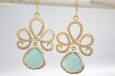 Gold Earrings, Tiffany Blue Earrings, Tiffany Blue Wedding, Bridesmaids Jewelry, Bridesmaid gifts