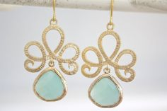 Gold Earrings, Tiffany Blue Earrings, Tiffany Blue Wedding, Bridesmaids Jewelry, Bridesmaid gifts