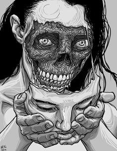 scary Illustration art Black and White horror Halloween Sketch comics digital Art Bizarre, Weird Art, Strange Art, Art And Illustration, Inspiration Art, Art Inspo, Art Noir, Identity Art, A Level Art