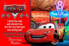 10 Personalised Cars Movie McQueen Lightning Thank You Cards - Personalised Invite Race Car Birthday, Cars Birthday Parties, 4th Birthday, Disney Cars, Trunk Organization, Warm Hug, Lightning Mcqueen, Thank You Cards, Invitations
