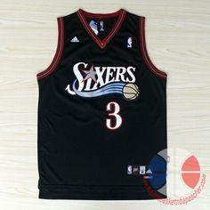maillot de basket pas cher Philadelphia 76ers Iverson  3 Noir mesh tissu  Basketball Tips 2ece3b52b