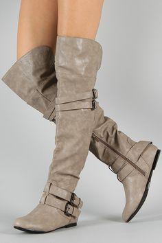 Women Winter Slouchy Knee High Boots Flat Heel