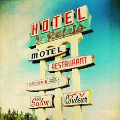 Hotel Le Relais - Hotel - Restaurant - Vintage neon sign motel #vintage #neon #sign