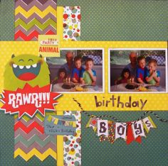 Birthday Boy page created with Lil' Monster collection for BoBunny Club Kits. Visit www.myscrappinshop.com.au to find out more. #BoBunny