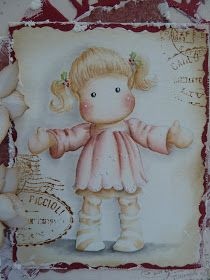 Hello!     Today I made a card for  Midweek Magnolias. I used  Tilda Wants a Huge from Magnolia Christmast 2010 Collection. Isn`t this Tild...