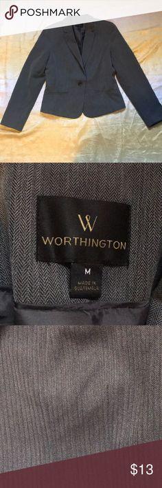 Worthington suit jacket NWOT. Dark gray single button. Has Shoulder pads. Pet and smoke free home Worthington Jackets & Coats Blazers