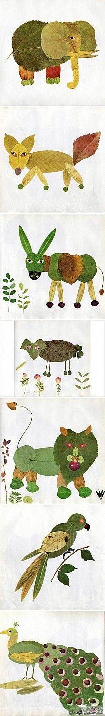 animals leaves diy craft