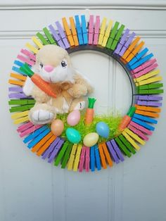 Easter Projects, Easter Crafts, Craft Projects, Rock Crafts, Diy And Crafts, Crafts For Kids, How To Make Wreaths, How To Make Bows, Wreath Crafts
