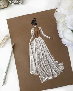 Gorgeous Bride Sketch of style Dress Design Sketches, Fashion Design Drawings, Fashion Sketches, Wedding Dress Drawings, Wedding Dress Illustrations, Fashion Drawing Dresses, Fashion Illustration Dresses, Paper Fashion, Fashion Art