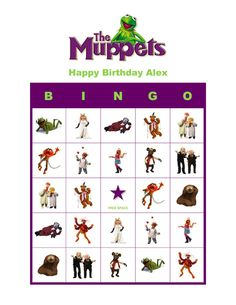 The Muppets Birthday Party Game Personalized Bingo Cards - great idea for gigi's party