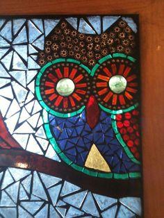 Mosaic Owls Glass on Glass Window Panel by lowlightcreations, $125.00