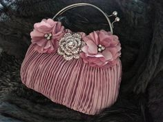 Red Pink Satin Flowers Clutch - Crystal Rhinestone Rose Clutch - Floral Wedding Bag - Bridal And Bridesmaids Purses
