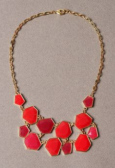 Coral and Pink Geometric Stone Necklace