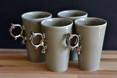 Dove - set of 4 cups w COCOceramics na DaWanda.com