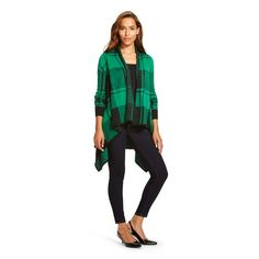 Women's Plaid Open Cardigan -Merona™ - Green/Black