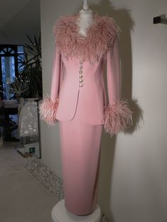 2-piece suit jacket with collar and cuffs Mabu, CIPRA length skirt pink jeweled buttons Pink Suit, Collar And Cuff, High Fashion, Cuffs, Suit Jacket, Buttons, Formal Dresses, Skirts, Jackets