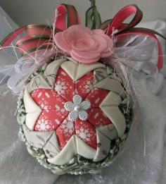 Christmas Ornament Quilted ornament Handmade by PJCreativeBoutique