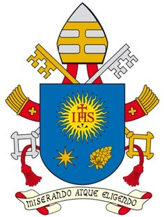 Vatican updates coat of arms of Pope Francis  The Vatican has updated the coat of arms of Pope Francis. The insignia borrows much from his former episcopal emblem. On the blue shield is the symbol of the Society of Jesus. Below it is a star and the buds of a spikenard flower, which represent respectively Mary and St. Joseph. The papal motto is the Latin phrase Miserando atque eligendo, which means because he saw him through the eyes of mercy and chose him or more simply, having mercy, he ca