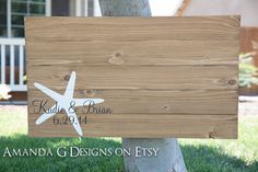 Nautical wedding guest book alternative. This sign is hand-painted and features a starfish along with the wording of your choice. The guest book