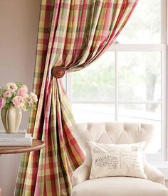 Country check curtains