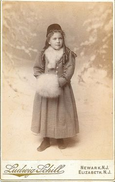 +~+~ Antique Photograph ~+~+  Beautiful young girl in hat, coat and snow muff.