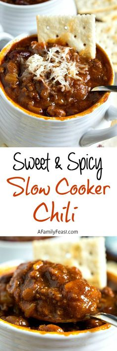 Glenn's Sweet & Spicy Slow Cooker Chili - A uniquely delicious chili that starts out sweet, then delivers a spicy kick! Addictively delicious! Best Bison Chili Recipe, Spicy Deer Chili Recipe, Chili Recipe For Kids, Bourbon Chili Recipe, Spicy Crockpot Chili, Chili Recipe Stovetop, Venison Chili Recipe, Crockpot Meals, Slow Cooker Chili