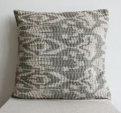Large Ikat Pillow in Gray size 20x20 by gypsya on Etsy, $27.00