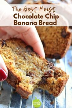 easy chocolate chip banana bread recipe that is super moist on the inside and. An easy chocolate chip banana bread recipe that is super moist on the inside and., An easy chocolate chip banana bread recipe that is super moist on the inside and. Sour Cream Banana Bread, Chocolate Banana Bread, Chocolate Chip Recipes, Healthy Chocolate, Delicious Chocolate, Chocolate Chips, One Banana Banana Bread, Banana Bread With Applesauce, Coconut Flour Banana Bread