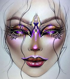 Makeup Excellence Discover more about face & eyebrow makeup Wedd Fx Makeup, Eyebrow Makeup, Makeup Inspo, Makeup Inspiration, Mask Makeup, Facechart Mac, Facechart Makeup, Maquillage Halloween, Halloween Makeup