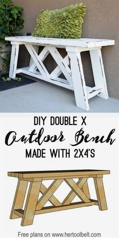 Build a cute little DIY outdoor bench for your porch or entry. Build a cute little DIY outdoor bench for your porch or . Diy Bank, Diy Holz, Diy Décoration, Easy Diy, Diy Wood Projects, Diy Home Decor Projects, Diy Projects Outdoor Furniture, Fun Diy Projects For Home, Lathe Projects