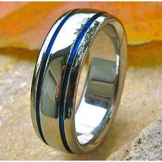Blue Titanium Promise Ring B10 Enforcement OfficerThin LinesTitanium RingsPromise RingsWedding BandsPolice