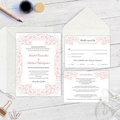 Coral wedding Invitation suite template by WeddingInvitationByC