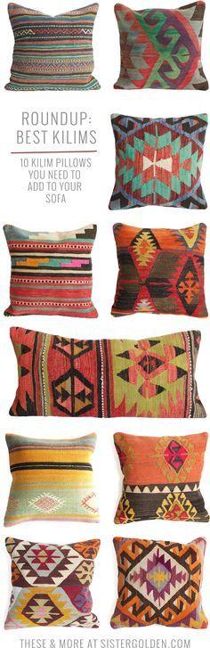 Kilim pillows that will add instant boho style to any drab couch! Kilim pillows that will add instant boho style to any drab couch! Deco Boheme, Textiles, Retro Home Decor, Kilim Pillows, Boho Pillows, Couch Pillows, Diy Pillows, Room Inspiration, Home Accessories