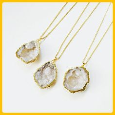 White Druzy Geode Necklace, Gemstone Pendant, Druzy Slice, Gold Electoformed, Gold Gem Necklace, Quartz Necklace, Crystal Necklace - Wedding nacklaces (*Amazon Partner-Link)