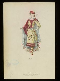 Fashion plate showing fancy dress costume. A woman in a yellow and red costume with a bolero effect bodice, blue silk cape and yellow and red pom-pom trimmings, with a musket slung across her back and two pistols tucked in her sash. Red Costume, Costumes, Theatre Outfit, Victorian Fancy Dress, House Of Worth, Fashion Illustration Vintage, 19th Century Fashion, The V&a, Edwardian Era