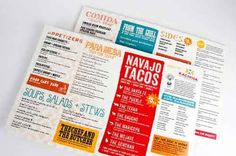 typographic mexican restaurant table menu design