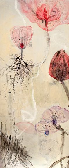 'Fading Dreams #2' (2012) by American artist Allison Stewart. Mixed media on panel, 80 x 32 in. via Arthur Roger Gallery