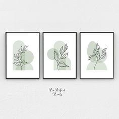 Art Minimaliste, Bohemian Art, Bohemian Painting, Wall Art Prints, Wall Art Decor, Wall Art Sets, Painting Prints, Green Paintings, Simple Wall Paintings